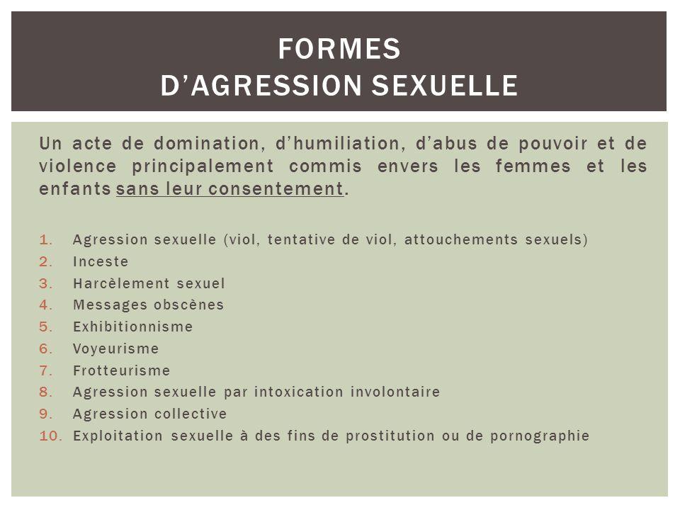 un geste, des paroles, des attitudes à caractère sexuel, avec ou sans contact physique, commis par un individu sans le consentement de la personne visée.