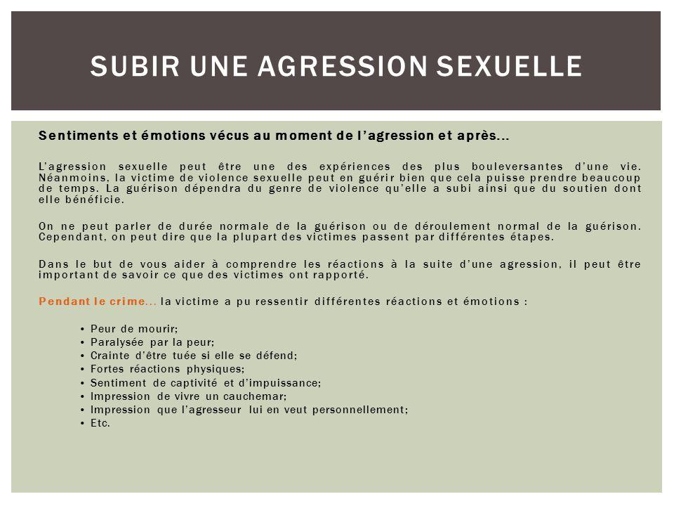 Les réactions possibles chez la survivante SUBIR UNE AGRESSION SEXUELLE