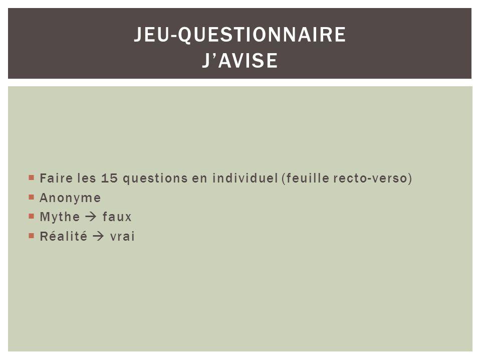 Mythes et préjugés JEU-QUESTIONNAIRE JAVISE