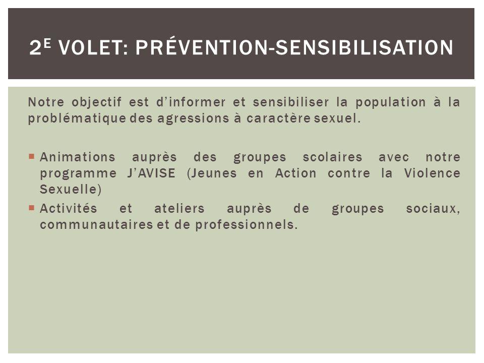 Notre objectif est de venir en aide aux femmes âgées de 14 ans et plus ayant vécu une agression à caractère sexuel.