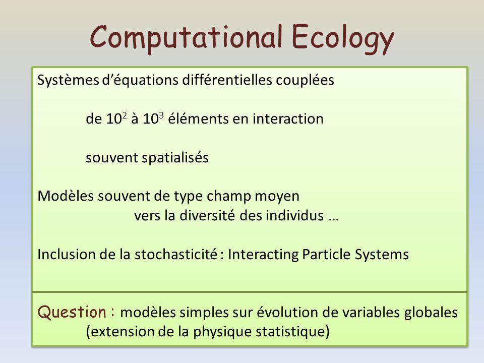 Computational Ecology Systèmes déquations différentielles couplées de 10 2 à 10 3 éléments en interaction souvent spatialisés Modèles souvent de type