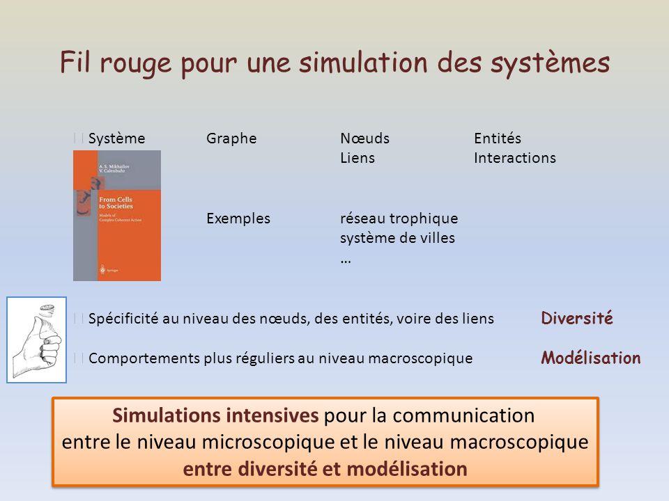 Fil rouge pour une simulation des systèmes SystèmeGrapheNœudsEntités LiensInteractions Exemplesréseau trophique système de villes … Spécificité au niv