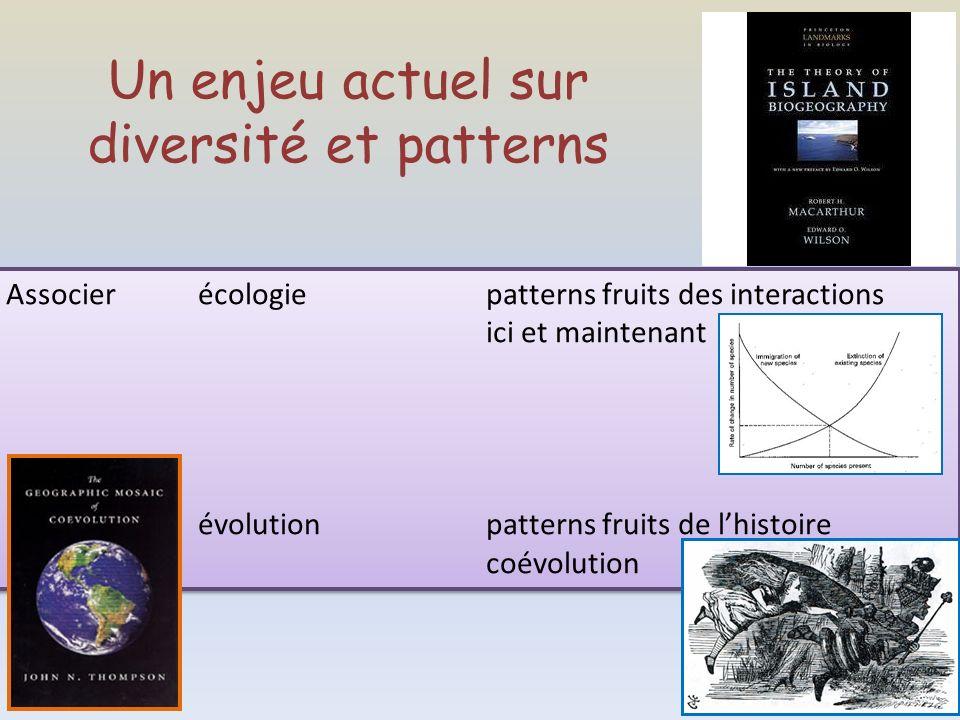 Un enjeu actuel sur diversité et patterns Associer écologiepatterns fruits des interactions ici et maintenant évolutionpatterns fruits de lhistoire co