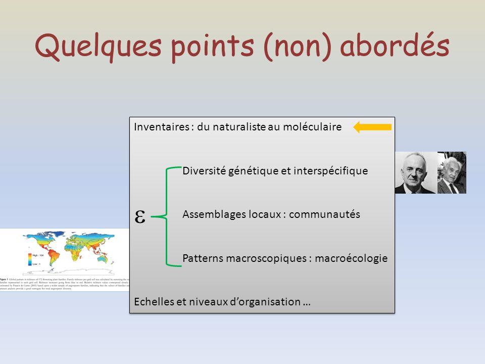 Quelques points (non) abordés Inventaires : du naturaliste au moléculaire Diversité génétique et interspécifique Assemblages locaux : communautés Patt