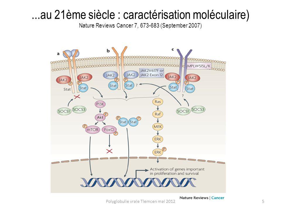 Faible risque : les saignées ne sont pas leucémogènes comme la cytoréduction PVSG-01 : survie médiane (causes de mortalité) saignées seules13.8 y (thromboses) saignées + 32P 11.8 y (leucémie aiguë) saignées + chlorambucil 8.9y (leucémie aiguë) Semin Hematol 1986; 23:132-143 Polyglobulie vraie Tlemcen mai 201216