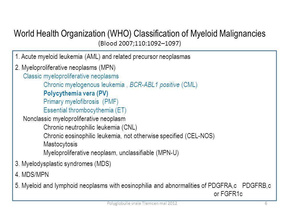 Faible risque : laspirine améliore la probabilité de survie sans thrombose ECLAP N Engl J Med 2004; 350:114-124 17Polyglobulie vraie Tlemcen mai 2012