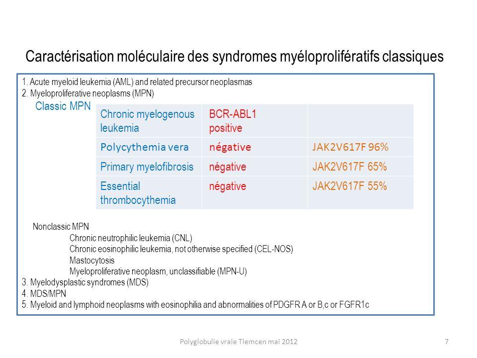 Risque élevé : avantages de lHydroxyurée néanmoins associée à un faible risque leucémique à 10-20 ans Polyglobulie vraie Tlemcen mai 201218 ECLAP Blood 2005 105: 2664-2670