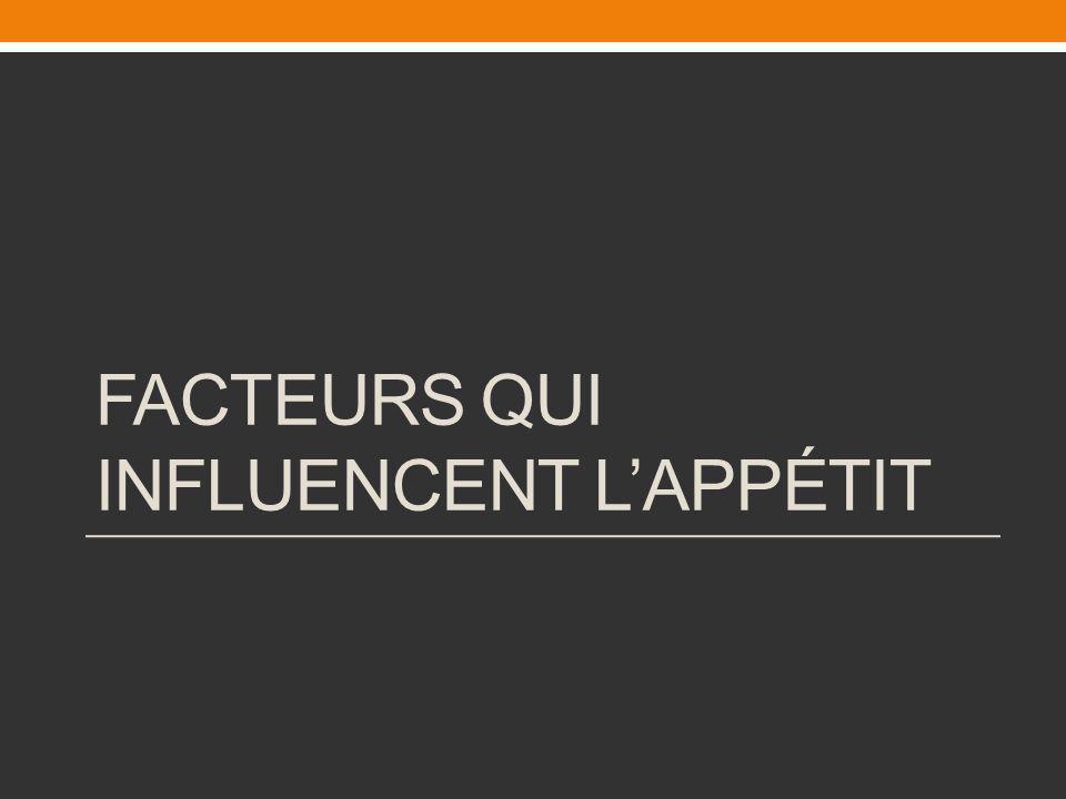 FACTEURS QUI INFLUENCENT LAPPÉTIT