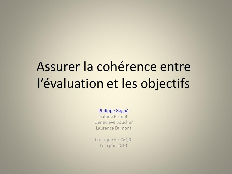 1 Assurer la cohérence entre lévaluation et les objectifs Philippe Gagné Sabine Brunet Geneviève Boucher Laurence Dumont Colloque de lAQPC Le 5 juin 2