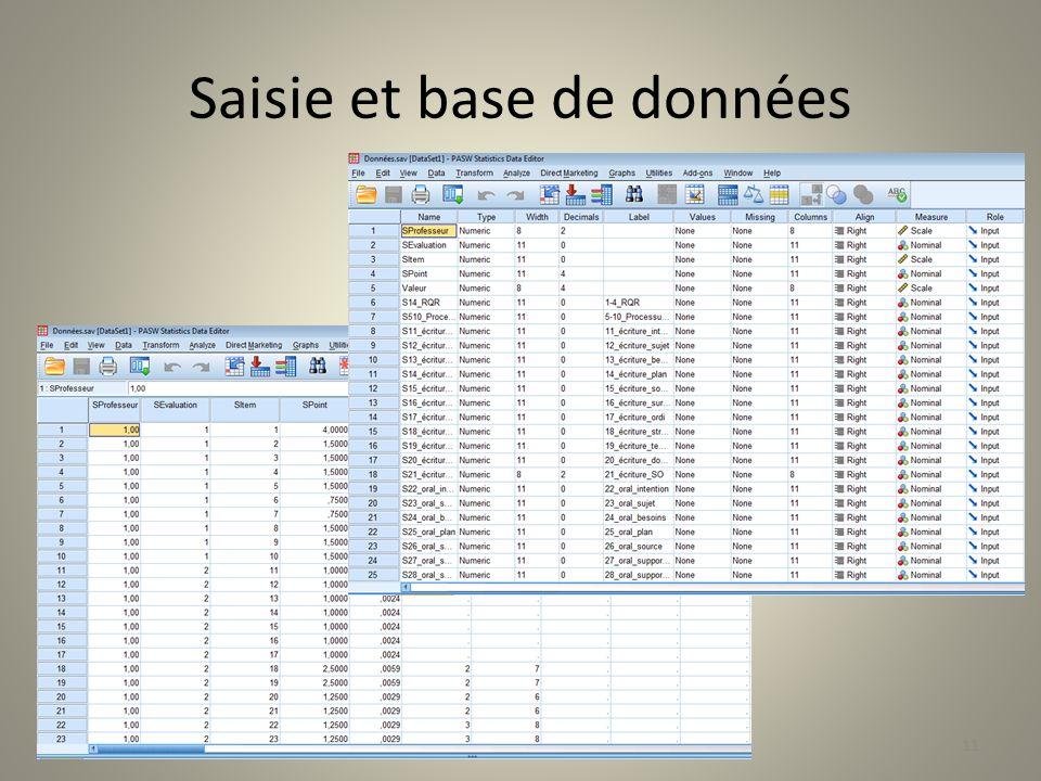 Saisie et base de données 11