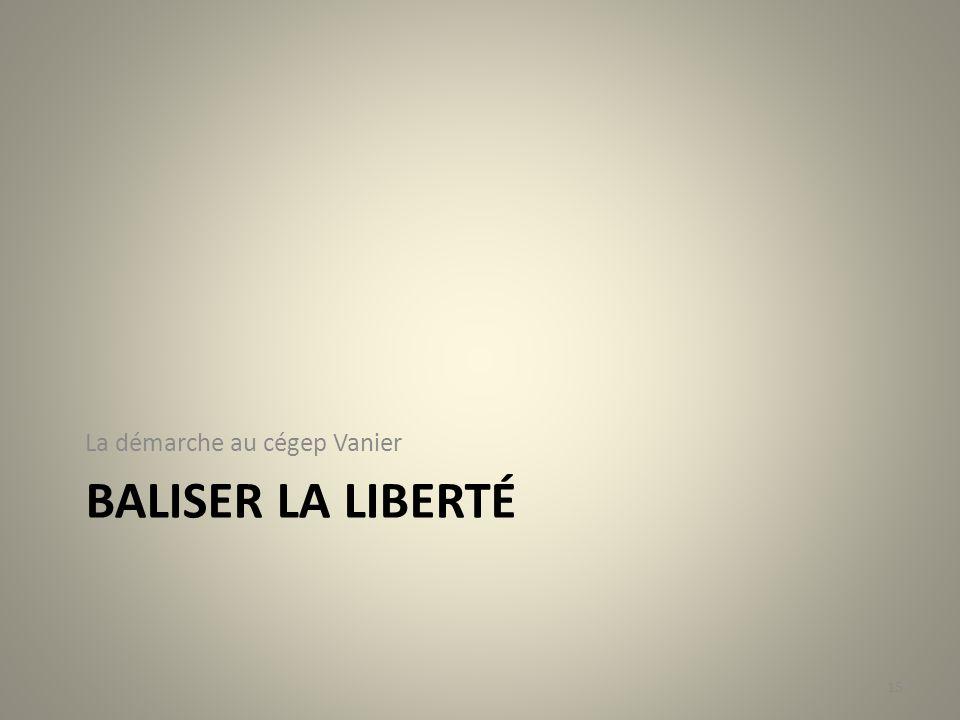 BALISER LA LIBERTÉ La démarche au cégep Vanier 15