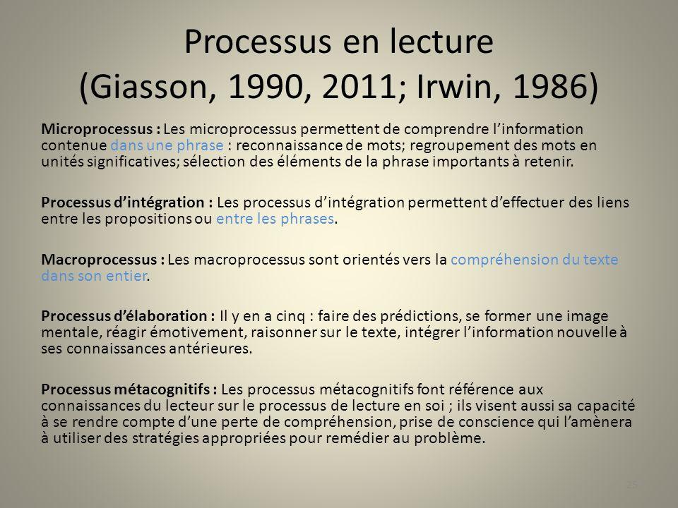 Processus en lecture (Giasson, 1990, 2011; Irwin, 1986) Microprocessus : Les microprocessus permettent de comprendre linformation contenue dans une ph