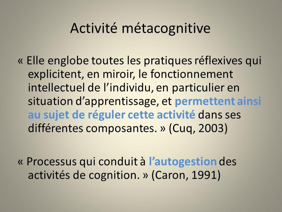 Activité métacognitive « Elle englobe toutes les pratiques réflexives qui explicitent, en miroir, le fonctionnement intellectuel de lindividu, en part