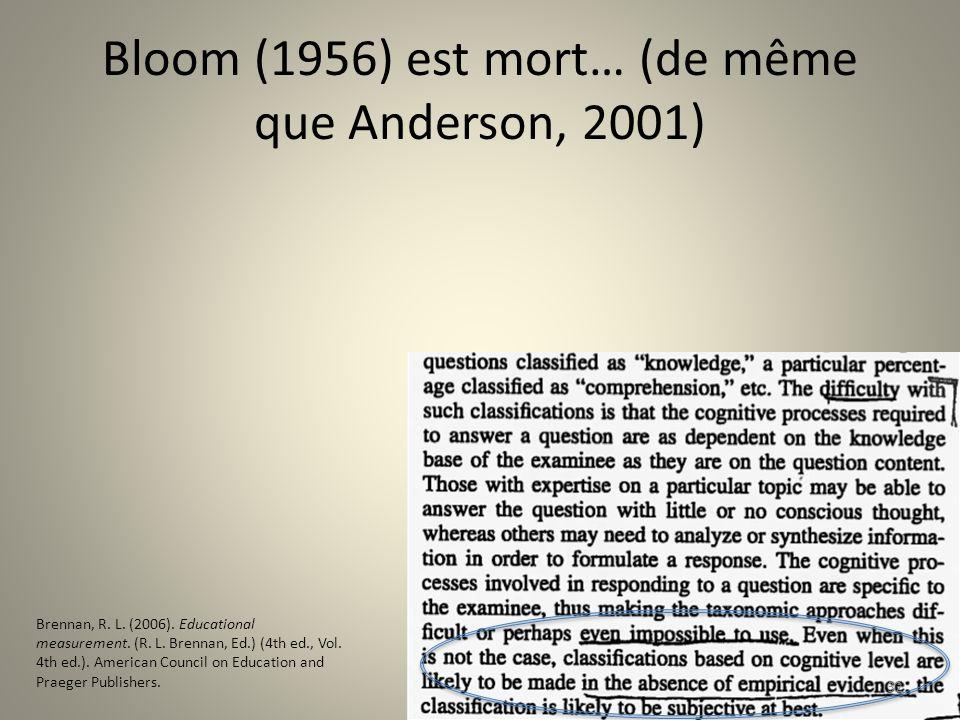 Bloom (1956) est mort… (de même que Anderson, 2001) 32 Brennan, R. L. (2006). Educational measurement. (R. L. Brennan, Ed.) (4th ed., Vol. 4th ed.). A