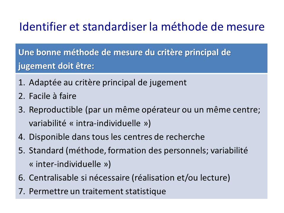 Identifier et standardiser la méthode de mesure Une bonne méthode de mesure du critère principal de jugement doit être: 1.Adaptée au critère principal