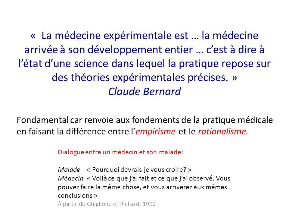 « La médecine expérimentale est … la médecine arrivée à son développement entier … cest à dire à létat dune science dans lequel la pratique repose sur