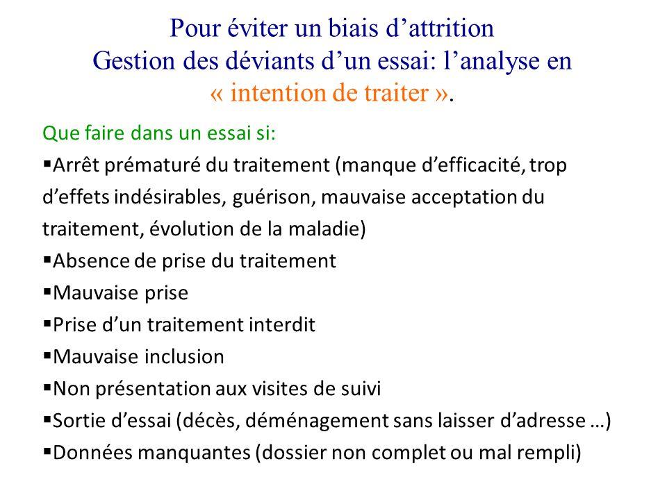 Pour éviter un biais dattrition Gestion des déviants dun essai: lanalyse en « intention de traiter ». Que faire dans un essai si: Arrêt prématuré du t