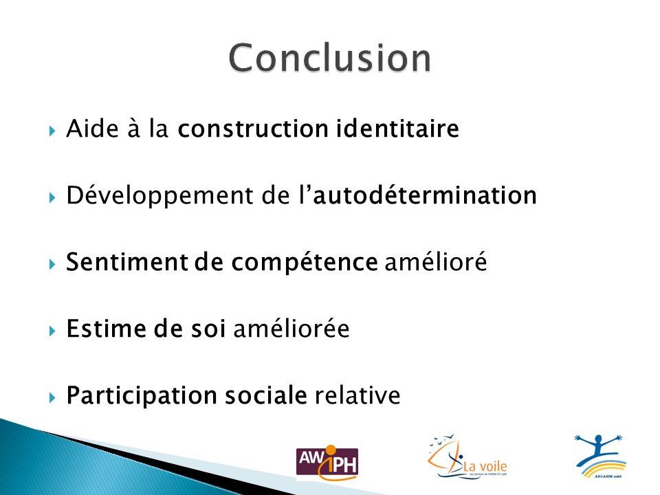 Aide à la construction identitaire Développement de lautodétermination Sentiment de compétence amélioré Estime de soi améliorée Participation sociale