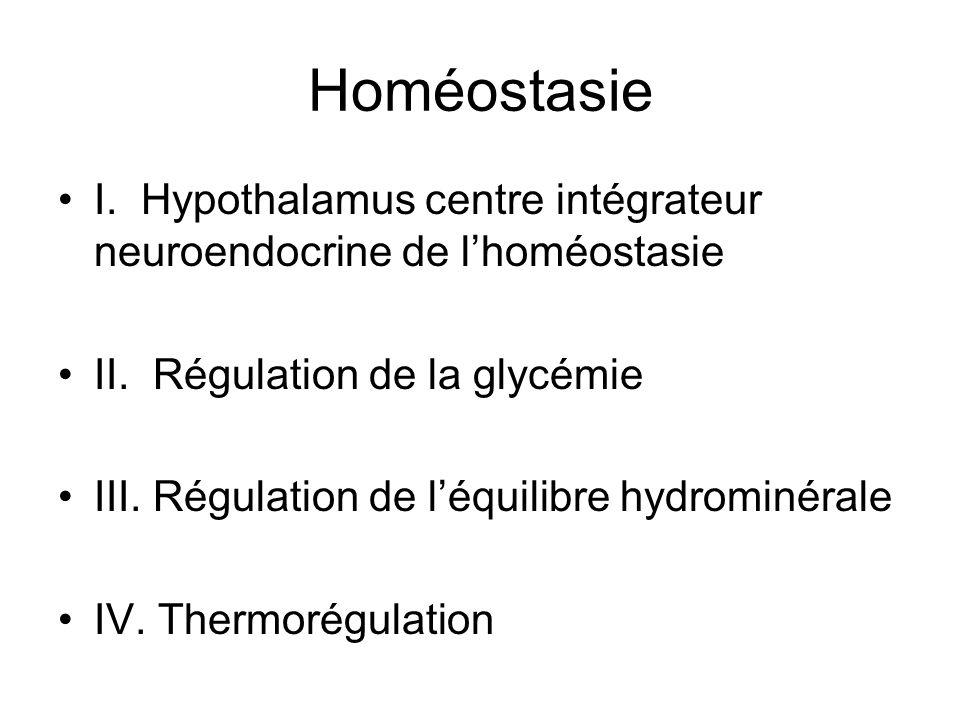 Homéostasie I. Hypothalamus centre intégrateur neuroendocrine de lhoméostasie II. Régulation de la glycémie III. Régulation de léquilibre hydrominéral
