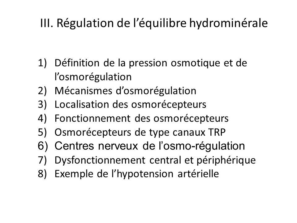 1)Définition de la pression osmotique et de losmorégulation 2)Mécanismes dosmorégulation 3)Localisation des osmorécepteurs 4)Fonctionnement des osmoré