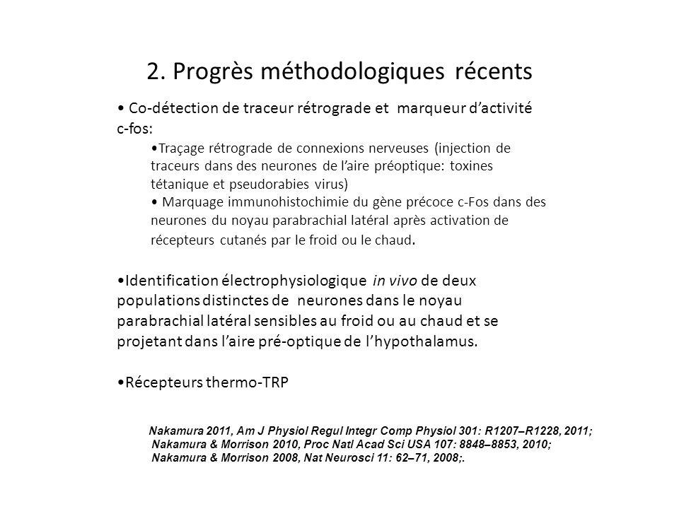 2. Progrès méthodologiques récents Nakamura 2011, Am J Physiol Regul Integr Comp Physiol 301: R1207–R1228, 2011; Nakamura & Morrison 2010, Proc Natl A