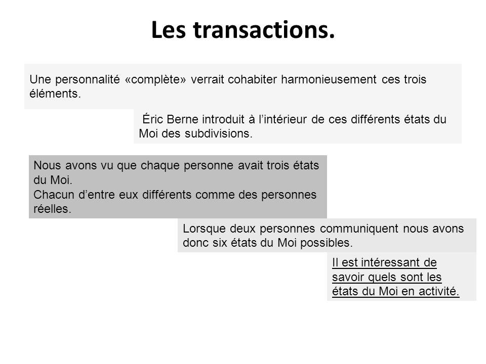 Les transactions. Une personnalité «complète» verrait cohabiter harmonieusement ces trois éléments. Éric Berne introduit à lintérieur de ces différent