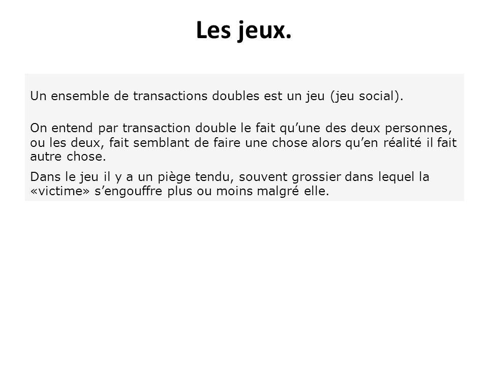 Les jeux. Un ensemble de transactions doubles est un jeu (jeu social). On entend par transaction double le fait quune des deux personnes, ou les deux,