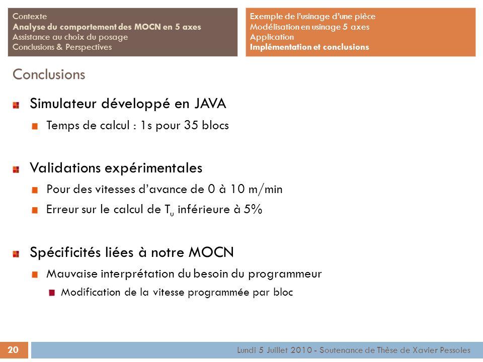 20 Lundi 5 Juillet 2010 - Soutenance de Thèse de Xavier Pessoles Contexte Analyse du comportement des MOCN en 5 axes Assistance au choix du posage Con