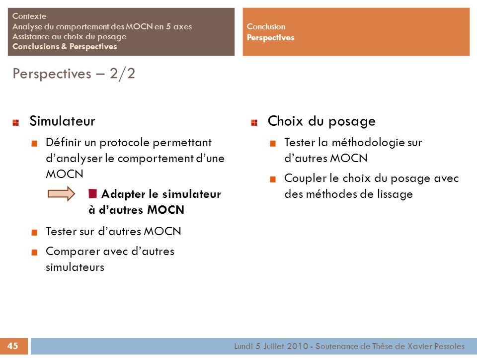 45 Lundi 5 Juillet 2010 - Soutenance de Thèse de Xavier Pessoles Contexte Analyse du comportement des MOCN en 5 axes Assistance au choix du posage Con