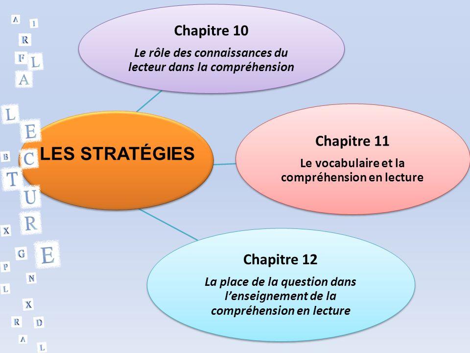 Chapitre 10 Le rôle des connaissances du lecteur dans la compréhension Chapitre 11 Le vocabulaire et la compréhension en lecture Chapitre 12 La place de la question dans lenseignement de la compréhension en lecture LES STRATÉGIES