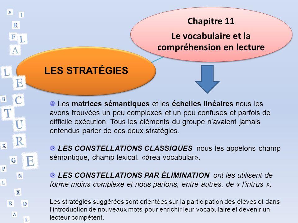 Chapitre 11 Le vocabulaire et la compréhension en lecture LES STRATÉGIES Les matrices sémantiques et les échelles linéaires nous les avons trouvées un peu complexes et un peu confuses et parfois de difficile exécution.