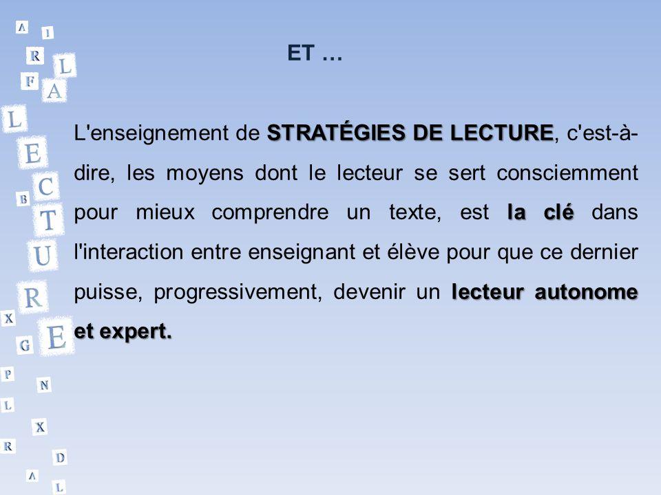 ET … L'enseignement de S SS STRATÉGIES DE LECTURE, c'est-à- dire, les moyens dont le lecteur se sert consciemment pour mieux comprendre un texte, est