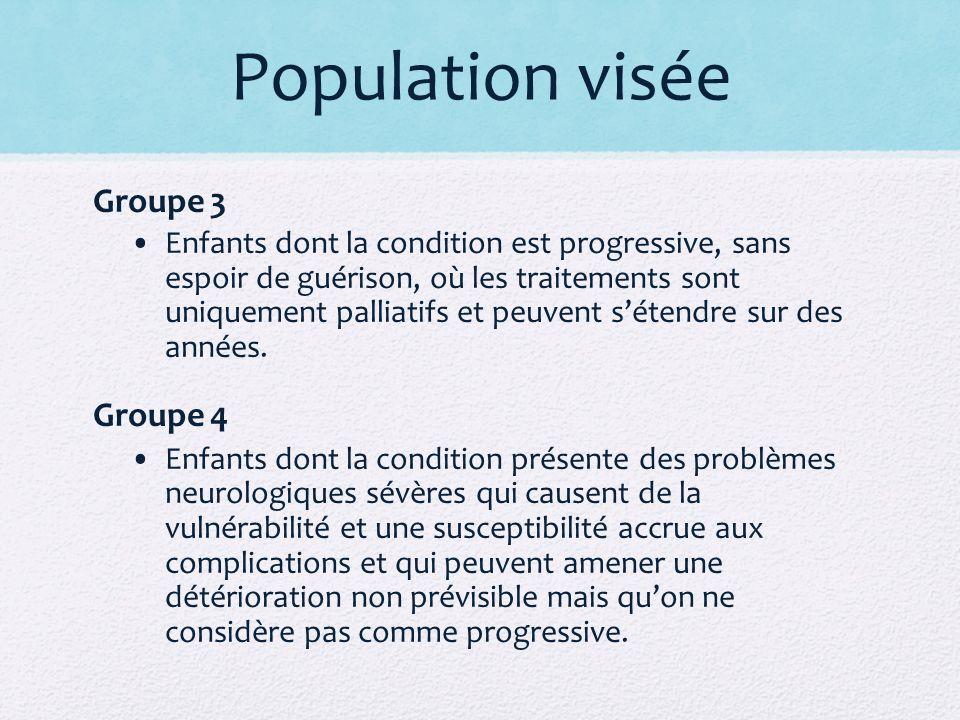 Population visée Groupe 3 Enfants dont la condition est progressive, sans espoir de guérison, où les traitements sont uniquement palliatifs et peuvent sétendre sur des années.