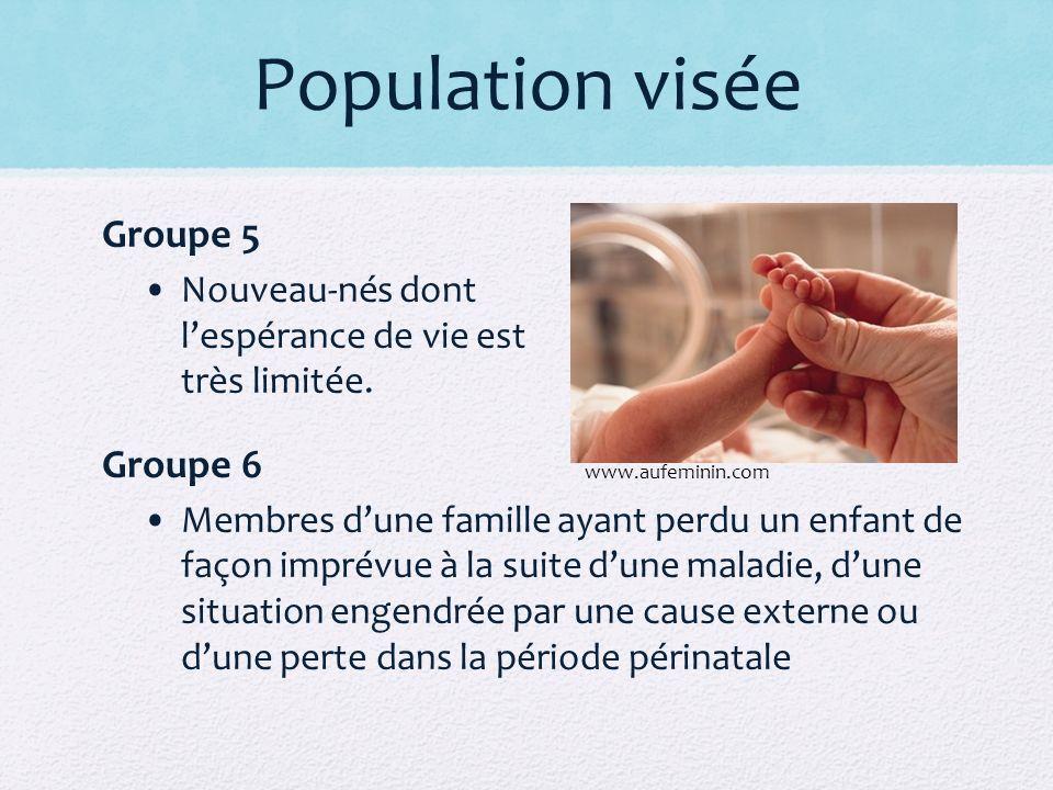 Population visée Groupe 5 Nouveau-nés dont lespérance de vie est très limitée. Groupe 6 Membres dune famille ayant perdu un enfant de façon imprévue à
