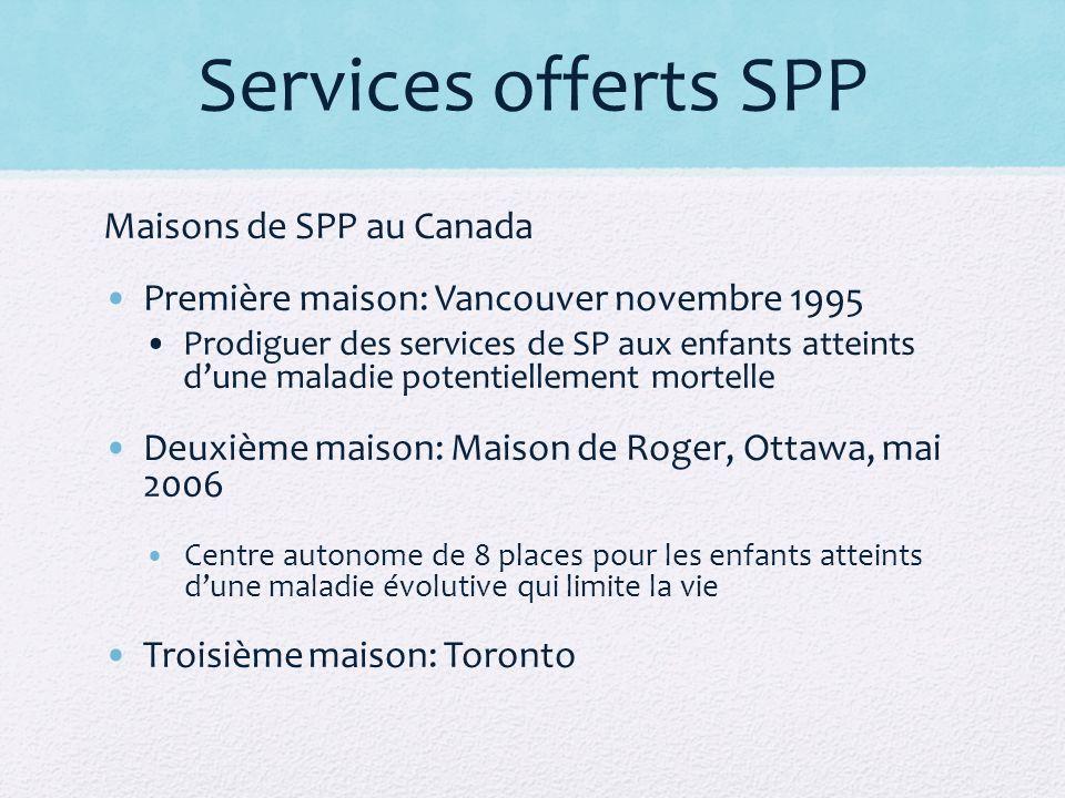 Services offerts SPP Maisons de SPP au Canada Première maison: Vancouver novembre 1995 Prodiguer des services de SP aux enfants atteints dune maladie