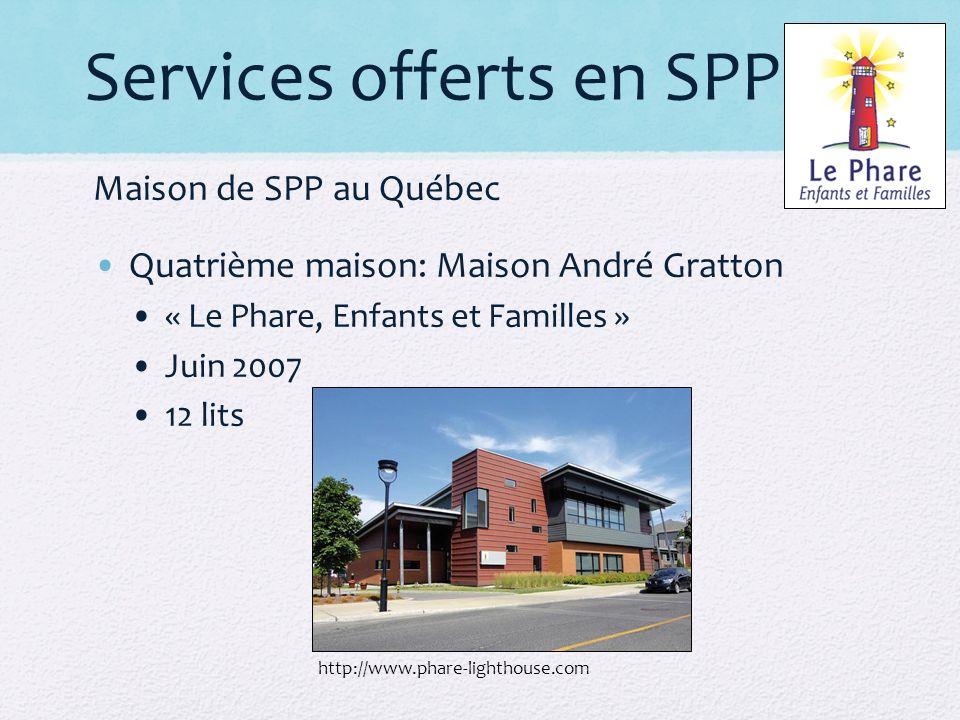 Services offerts en SPP Maison de SPP au Québec Quatrième maison: Maison André Gratton « Le Phare, Enfants et Familles » Juin 2007 12 lits http://www.phare-lighthouse.com