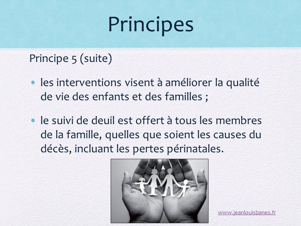 Principes Principe 5 (suite) les interventions visent à améliorer la qualité de vie des enfants et des familles ; le suivi de deuil est offert à tous les membres de la famille, quelles que soient les causes du décès, incluant les pertes périnatales.