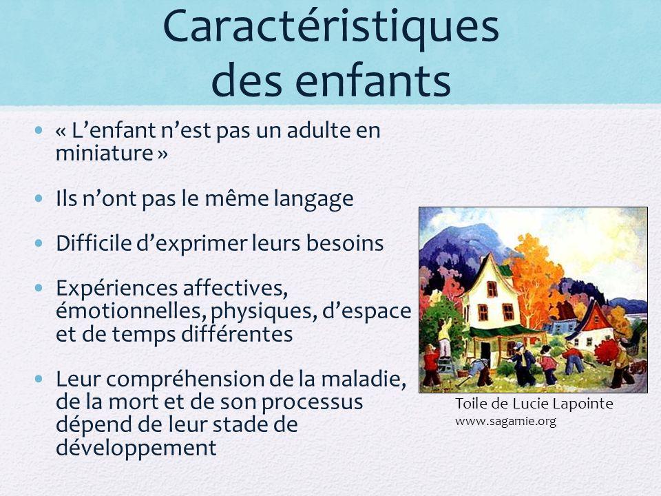 Caractéristiques des enfants « Lenfant nest pas un adulte en miniature » Ils nont pas le même langage Difficile dexprimer leurs besoins Expériences af