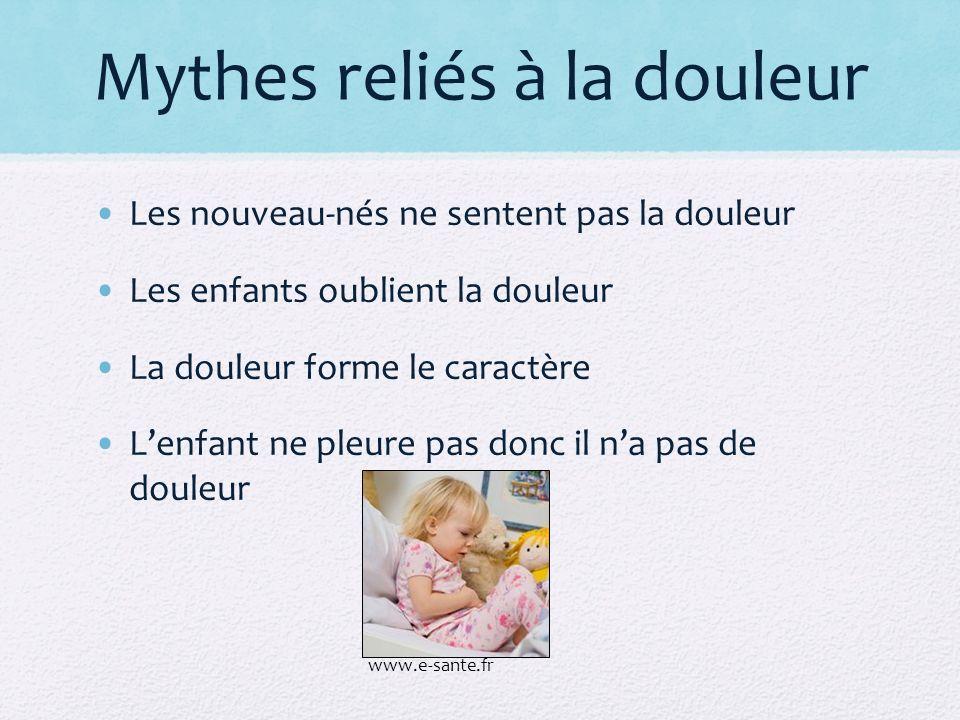 Mythes reliés à la douleur Les nouveau-nés ne sentent pas la douleur Les enfants oublient la douleur La douleur forme le caractère Lenfant ne pleure p