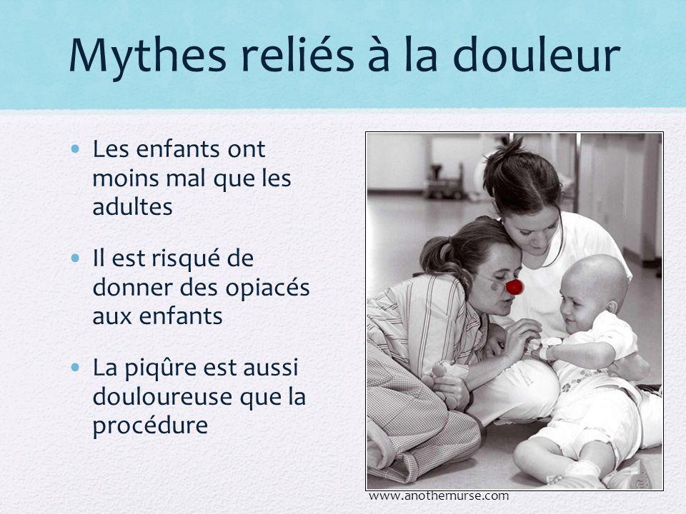 Mythes reliés à la douleur Les enfants ont moins mal que les adultes Il est risqué de donner des opiacés aux enfants La piqûre est aussi douloureuse q