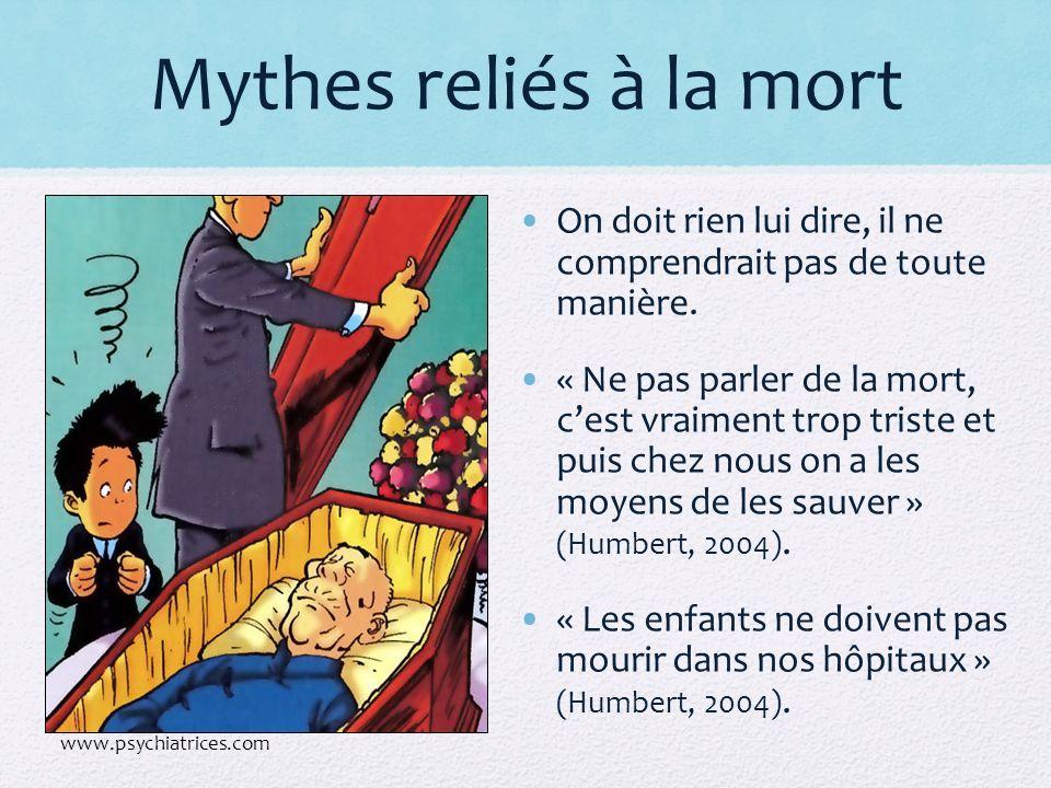 Mythes reliés à la mort On doit rien lui dire, il ne comprendrait pas de toute manière. « Ne pas parler de la mort, cest vraiment trop triste et puis