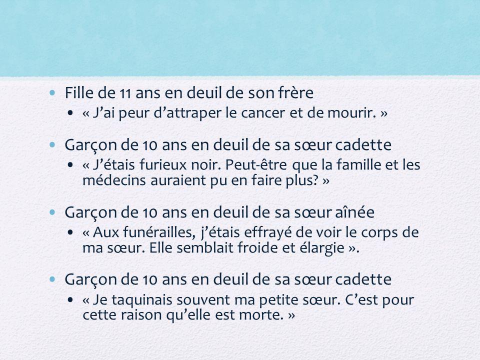 Fille de 11 ans en deuil de son frère « Jai peur dattraper le cancer et de mourir. » Garçon de 10 ans en deuil de sa sœur cadette « Jétais furieux noi