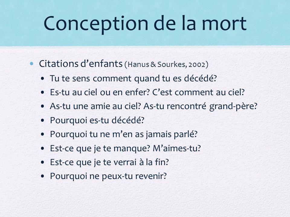 Conception de la mort Citations denfants (Hanus & Sourkes, 2002) Tu te sens comment quand tu es décédé.