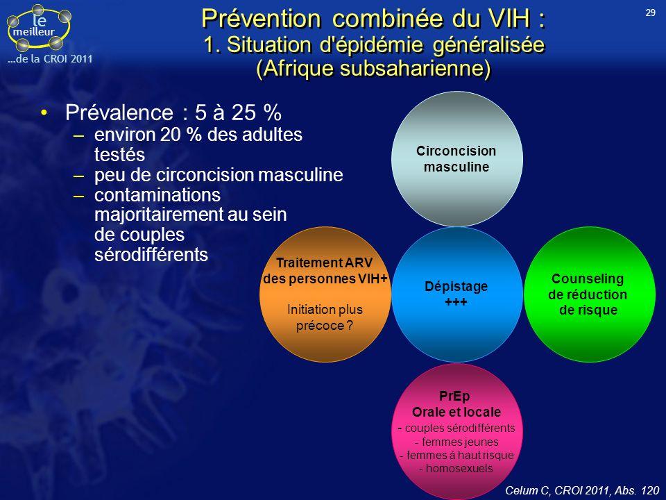 le meilleur …de la CROI 2011 Prévention combinée du VIH : 1. Situation d'épidémie généralisée (Afrique subsaharienne) Prévalence : 5 à 25 % –environ 2