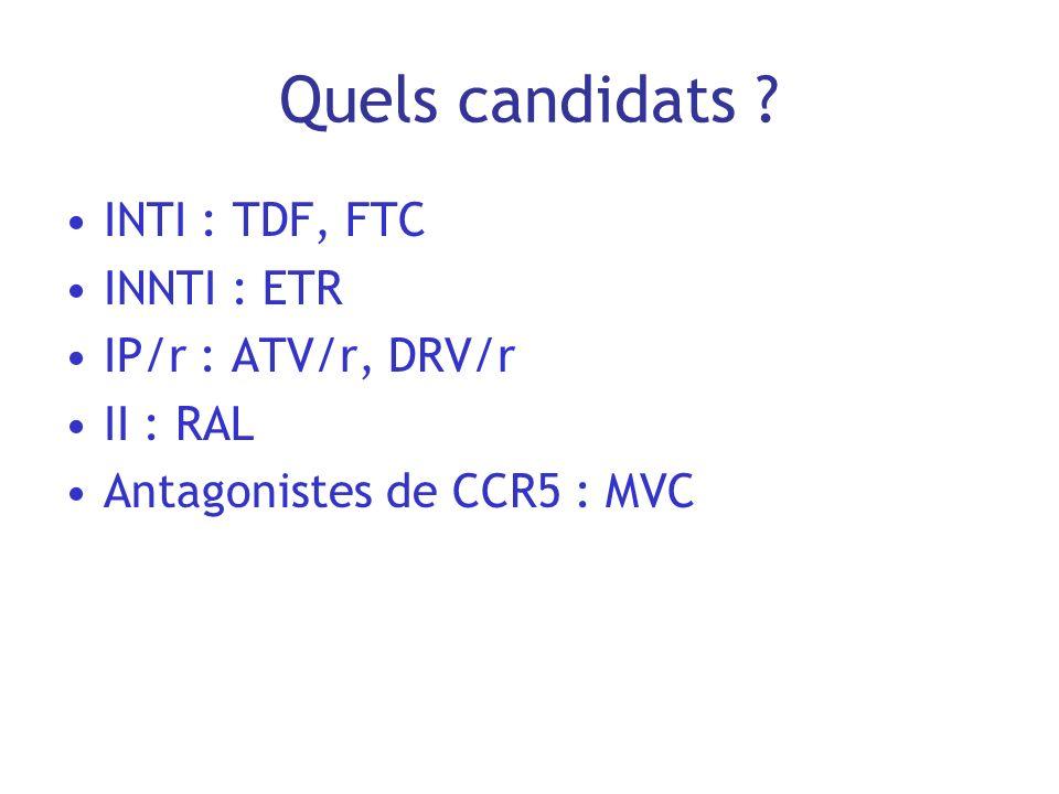 Quels candidats ? INTI : TDF, FTC INNTI : ETR IP/r : ATV/r, DRV/r II : RAL Antagonistes de CCR5 : MVC
