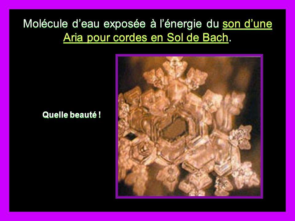 Molécule deau exposée à lénergie du son dune Aria pour cordes en Sol de Bach.