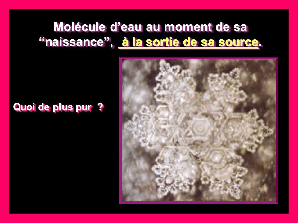 Molécule deau au moment de sa naissance, à la sortie de sa source.