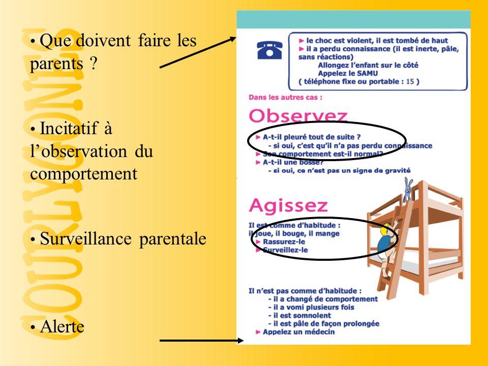 Responsabiliser les parents Signes positifs Enfant de moins de 12/18 mois Consultation