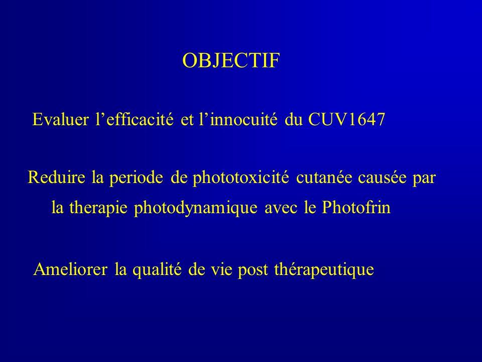OBJECTIF Evaluer lefficacité et linnocuité du CUV1647 Reduire la periode de phototoxicité cutanée causée par la therapie photodynamique avec le Photof