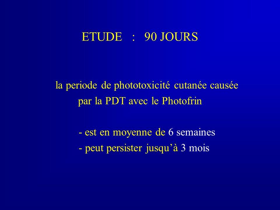 PHOTOTOXICITE CUTANEE : MECANISME effet photochimique (+ cytokines) cellule normale phototoxicité cutanée exposition solaire + Photofrin PDT immediatement : leger picotement, prurit, douleur 24 heures aprés : erytheme et oedeme